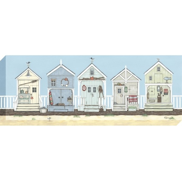 Buy Sally Swannell- Row Of Beach Huts Print on Canvas, 36 x 97cm online at JohnLewis.com ($105) found on Polyvore