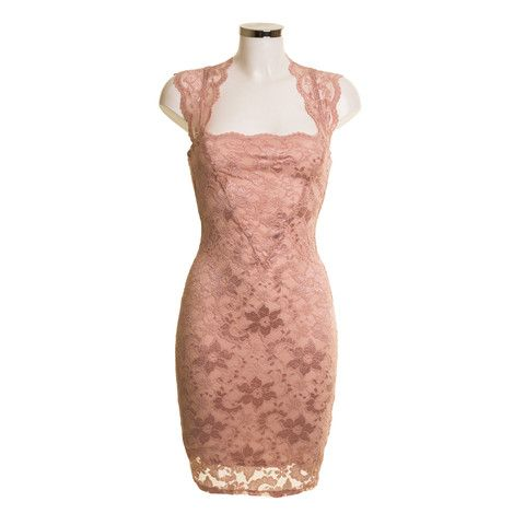 Square Lace Dusky Pink Dress | Debra Chigwell