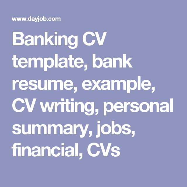 Banking CV template, bank resume, example, CV writing, personal summary, jobs, financial, CVs