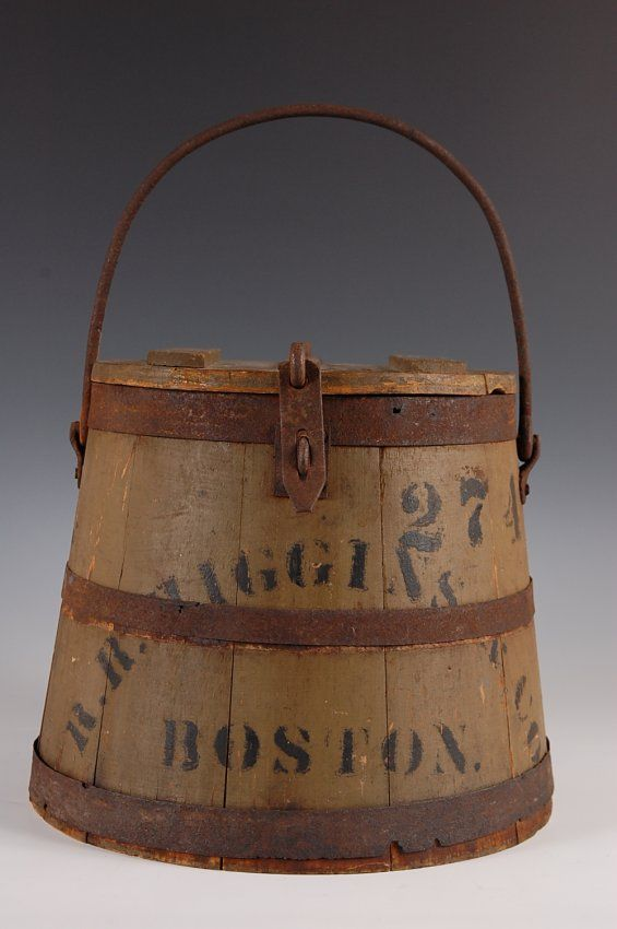 19TH C. PAINTED OYSTER BUCKET W/ BOSTON DEALER'S ADVERT : Lot 158