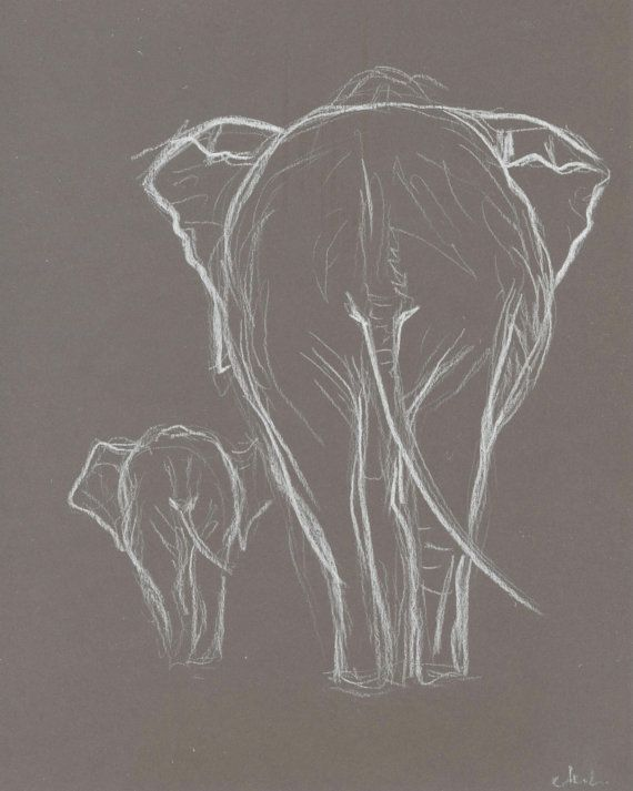 Two Elephant White Pastel Drawing. Original Elephant drawing. Baby elephant with mother.Elephant minimalism sketch.Nursery Art.Wall Art.8×10