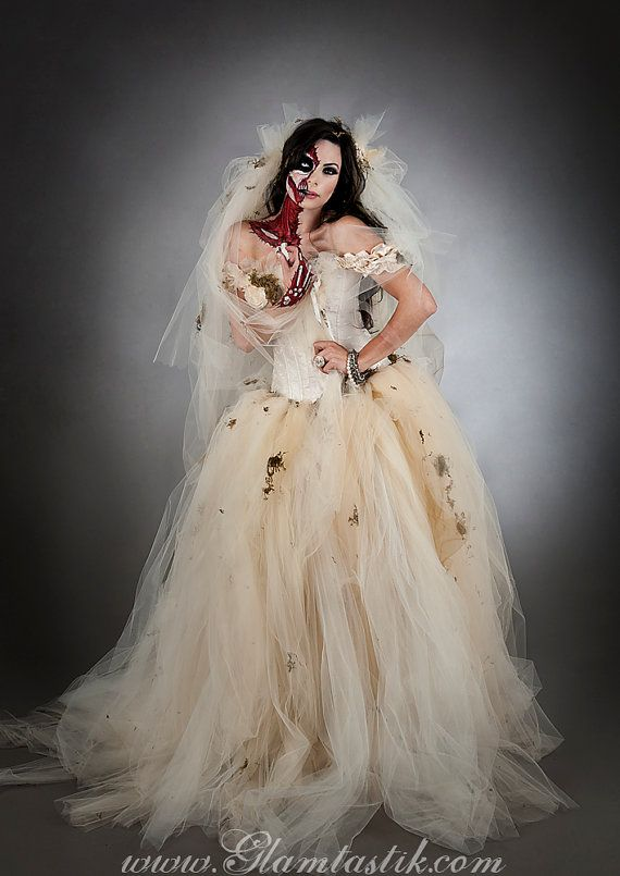 Custom Size Ivory Moss And Tulle Burlesque Prom Dress Zombie Corpse Bride With Veil Costume Sizes
