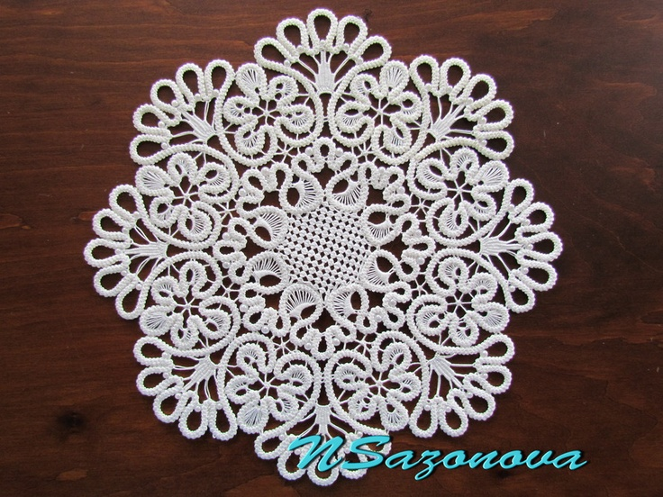 Romanian Point Lace mat (crocheted cords filled in with needle weaving)