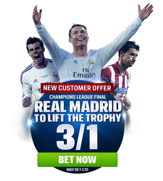 Real Madrid to lift the Trophy – New Customer Offer  Champions League Offer- Real Madrid 3/1 TO LIFT THE TROPHY Place your FIRST real money bet as a win up to £/€10 on 'Real Madrid to lift the trophy' in the Real Madrid vs Atlético Madrid 	If your bet wins, you'll be paid out at 3/1 straight away. Direct Link http://bit.ly/1c9Z7vx Read More And Collect More From http://www.initto-winit.com/sports/coral-sports/