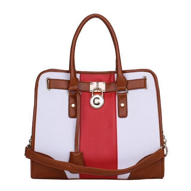 Michael Kors Hamilton Striped Canvas Large Red White Totes only $71.99