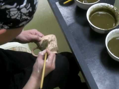 2009年4月~落合崇秀陶房・陶芸絵付け動画 - YouTube