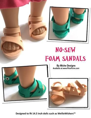 a6432f3a4 PDF doll clothes sewing pattern No Sew Foam Sandals Birkenstock sandals  designed to fit 14.5 inch