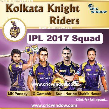 IPL 2017 Kolkata Knight Riders team http://www.cricwindow.com/ipl-10/kkr-squad-2017.html