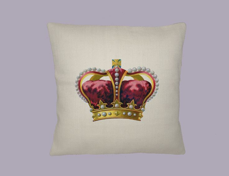 Vintage Ornate Red and Gold Crown 16x16 HANDMADE Pillow Cover - Choice of Fabric by WhimsyFrills on Etsy