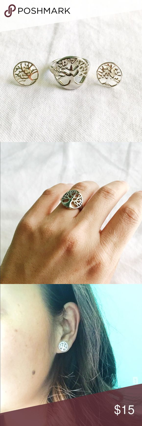 Tree of Life Earring and Ring Set Beautiful tree of life matching earrings and rings! In the picture I'm wearing it ok my ring finger and it's a size 6. Get it while you can. Put under J.Crew for visibility. J. Crew Jewelry Earrings