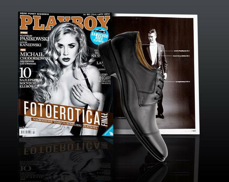 Styliści lutowego wydania miesięcznika PLAYBOY zaprezentowali m.in. niezbędnik Playboya, w którym wyróżniono czarne półbuty Wojas wykonane z licowej skóry (1030/51). Klasyczne obuwie doskonale uzupełnia eleganckie stylizacje.