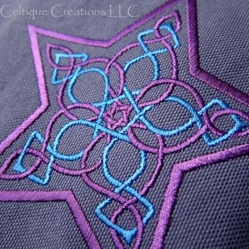 Celtic Knot Star Field Messenger Bag Blue Cotton Canvas with Embroidey   celtique_creations - Bags & Purses on ArtFire