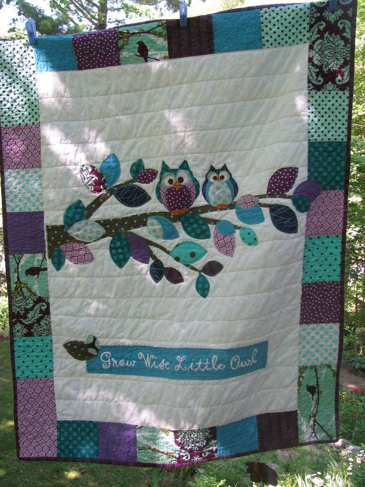 Woodland Owl baby quilt  of cotton in Aqua, turquoise, brown, purple Aviary fabrics with branch, leaves, Dewberry