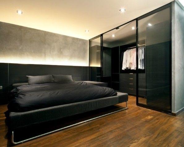 siyah kahve maskulen yatak odasi