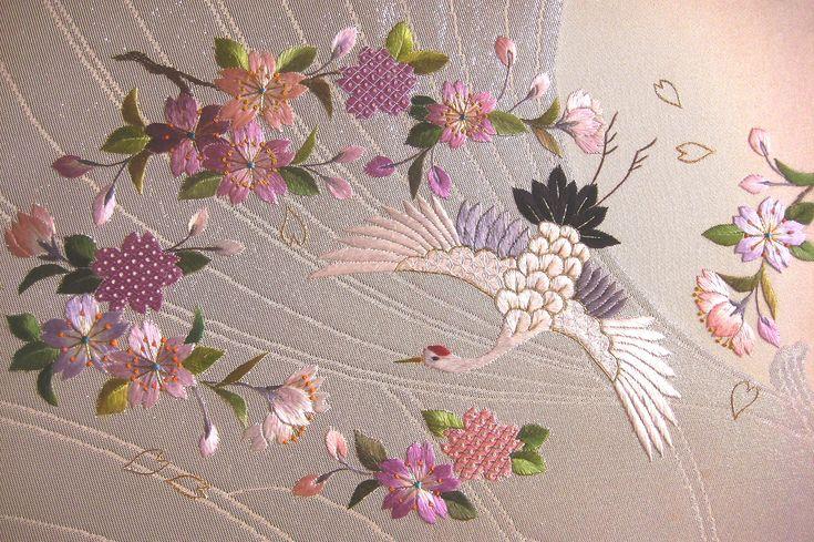 鶴(crane) #japan #traditional #embroidery