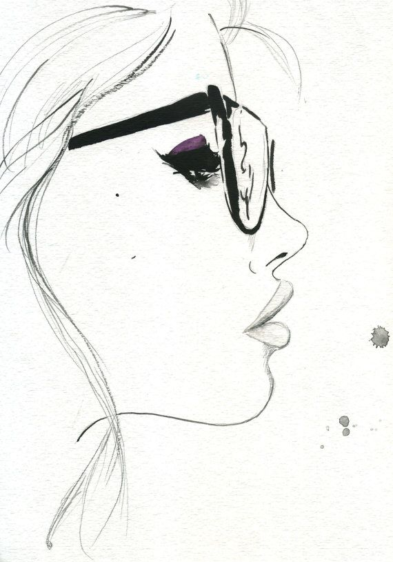 Fashion illustration - stylish fashion sketch of a girl in glasses // Jessica Durrant