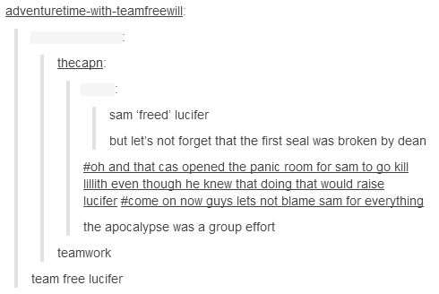 That's one thing I hated. People kept ragging on Sam in season 5 for freeing Lucifer, but everybody completely ignored that fact that that was seal 66. Seal 1 was all on Dean.