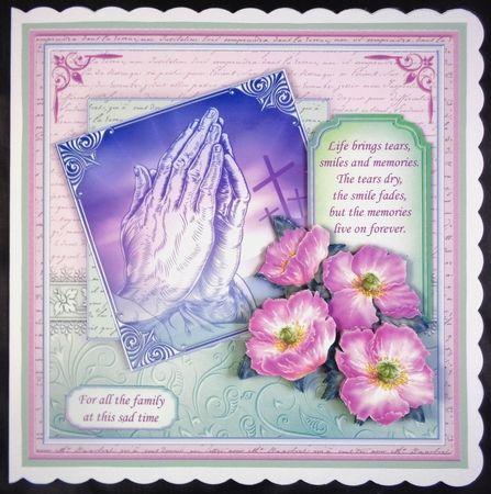 SYMPATHY PRAYING HANDS POPPIES & VERSE 8x8 Decoupage & Insert Mini Kit - CUP780639_68   Craftsuprint