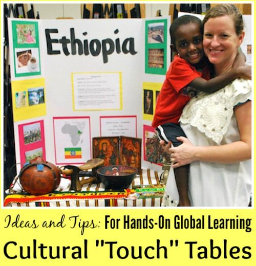 International Night Country Tables: show and touch tables for hands-on global learning and geography lessons for kids. Multicultural activity perfect for international week or festival of nations.