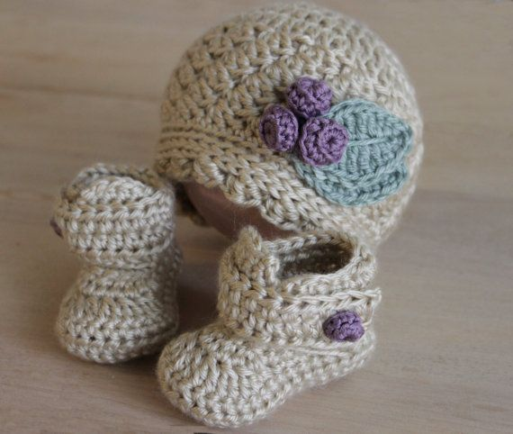 Baby Girl Crochet Hat and Booties Set, Newborn, 0-3 mos, 3-6 mos on Etsy, $30.00