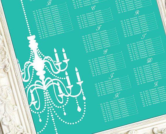 Printable Wedding Seating Chart, Wedding Seating Poster, Wedding Seating Sign, Wedding Seating Board - Aqua Magnificent Chandelier