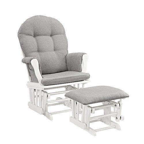 Baby Nursery: Glider Rocking Rocker Chair Furniture Nursery Room Ottoman White Gray Cushion BUY IT NOW ONLY: $158.82