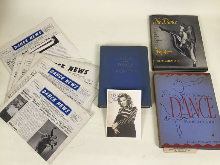 Signed Vera-Ellen Photograph, The Dance Book By John Martin, Merle Armitage Dance Memoranda Book, Artists Of The Dance Book By Lillian Moore And Dance News