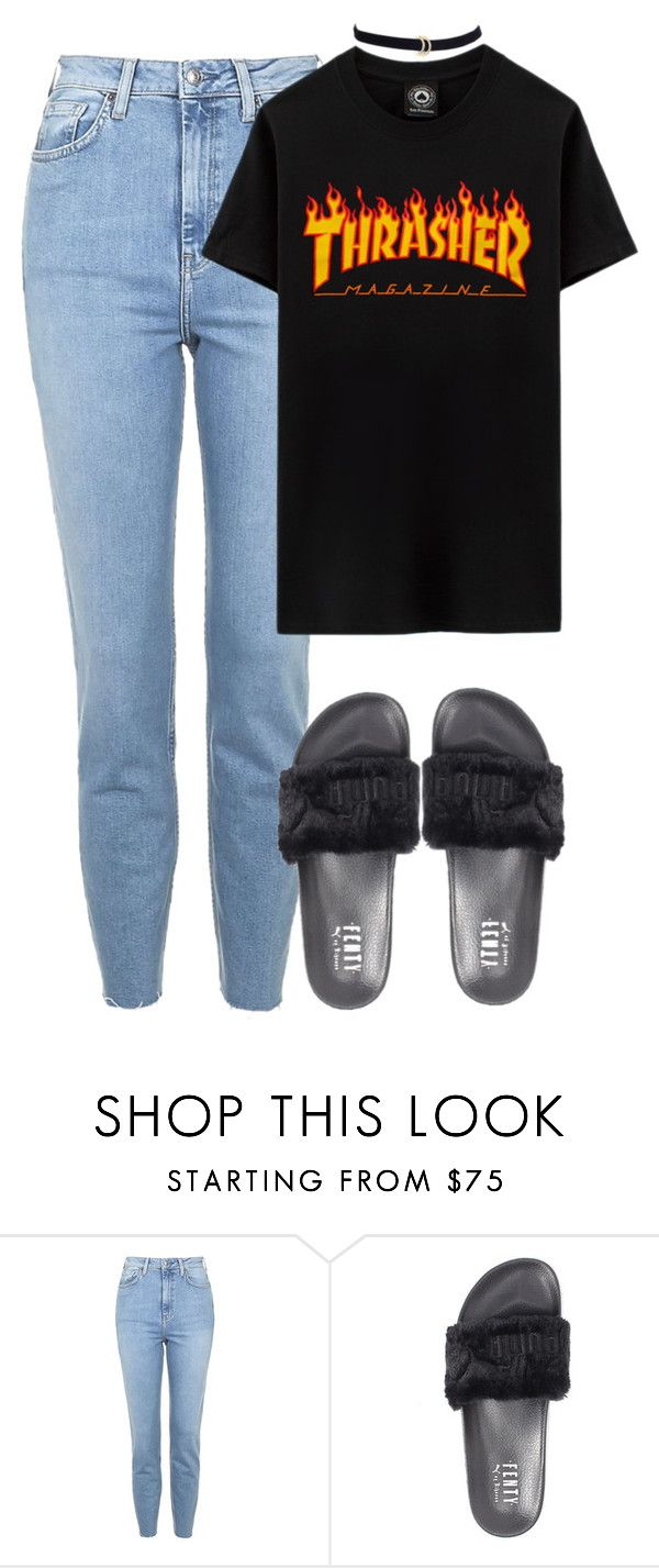 """Untitled #502"" by chandele ❤ liked on Polyvore featuring Topshop, VFiles, Puma, puma, slides and fentyxpuma"