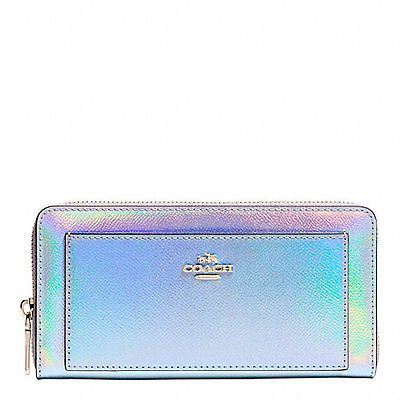 NEW Authentic Coach Silver Hologram Leather Accordion Zip Wallet 53878 SOLD OUT