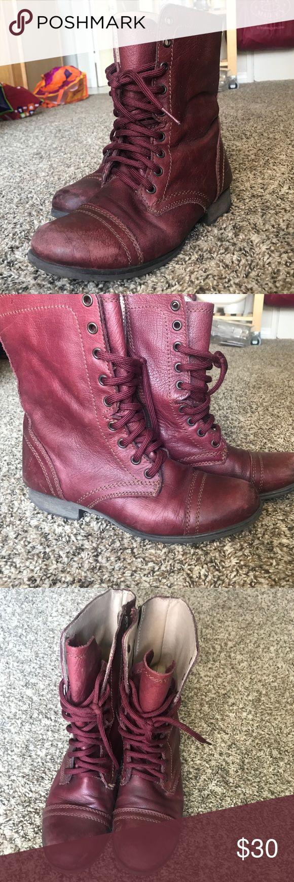 Steve Madden Troopa Combat Boots Lightly Worn 8.5 Burgandy Boots. Very Comfortable, and very stylish. Made with leather, and rubber soles. Zippers are located on the side. Steve Madden Shoes Lace Up Boots