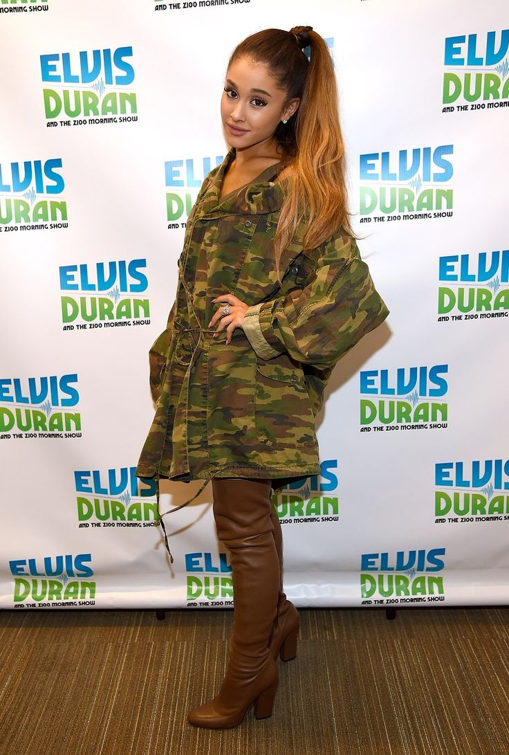Love Ariana's style? Pick up a camo jacket at your local Army Navy Surplus store, add your favorite boots, and you're practically her twin!