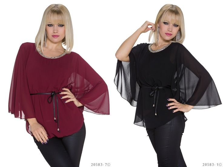 Stylisches #Kimono #Japan Shirt für Damen in den beiden Farben weinrot und schwarz. Dezenter #Chiffon Besatz an den beiden Ärmeln.