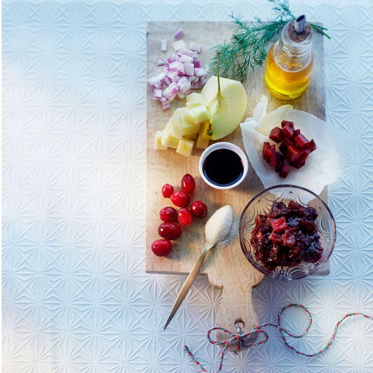 Geroosterde zalm met bietjes-cranberrychutney