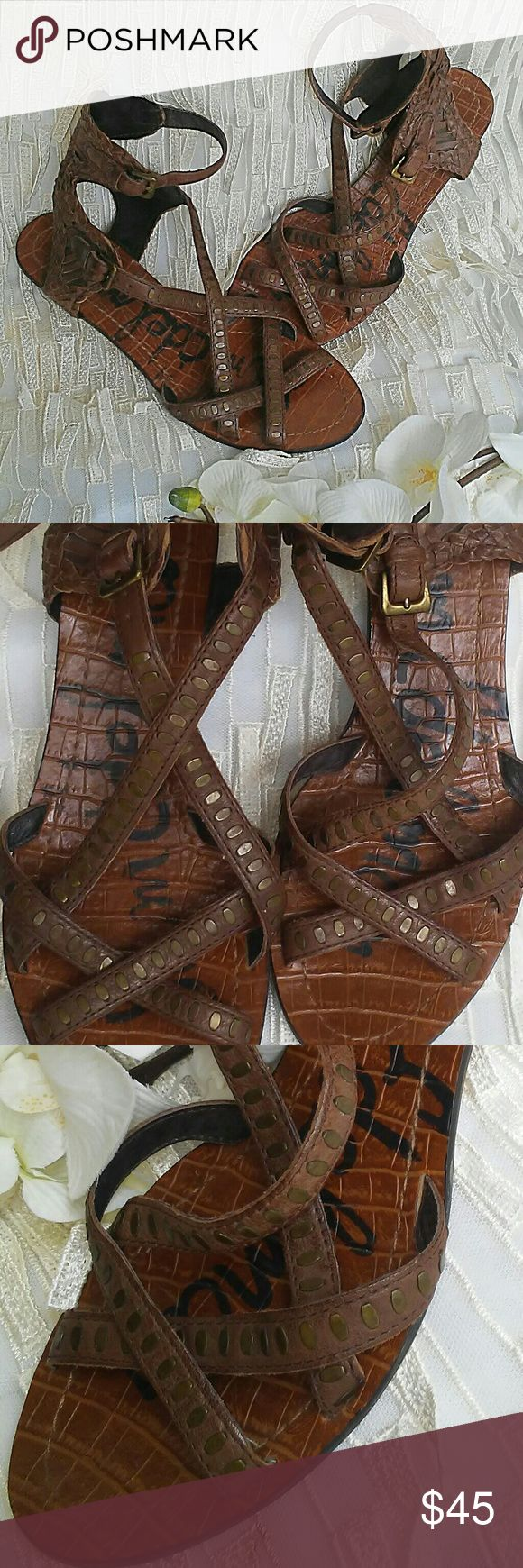 Sam Edleman Gladiator Sandals Beautiful and unique Sam Edleman sandals. Woven rich brown leather with bronze studs and two ankle buckles. Size 7  Great condition (as seen in photos) Fantastic quality and chic style!!!! Sam Edelman Shoes Sandals