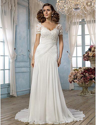 Sheath/Column Off-the-shoulder Court Train Chiffon and Lace Wendding Dress (551563) - USD $ 249.99