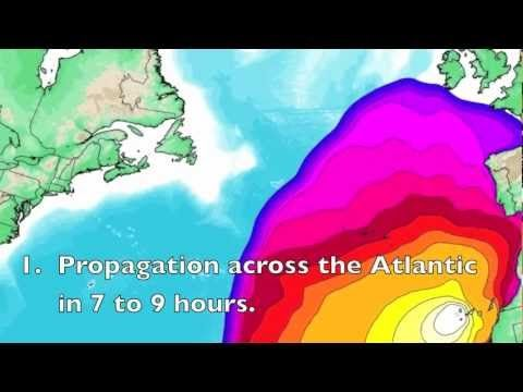 This movie shows a physics-based computer simulation of a Mega Tsunami generated by a flank collapse of La Palma, Canary Islands. The movie focuses on the maximum expected runup of the waves on the shores of the Atlantic Ocean.
