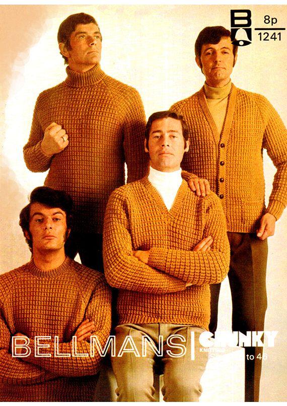 PDF Vintage 1970s Knitting Pattern Men Mellow-Yellow Jumpers