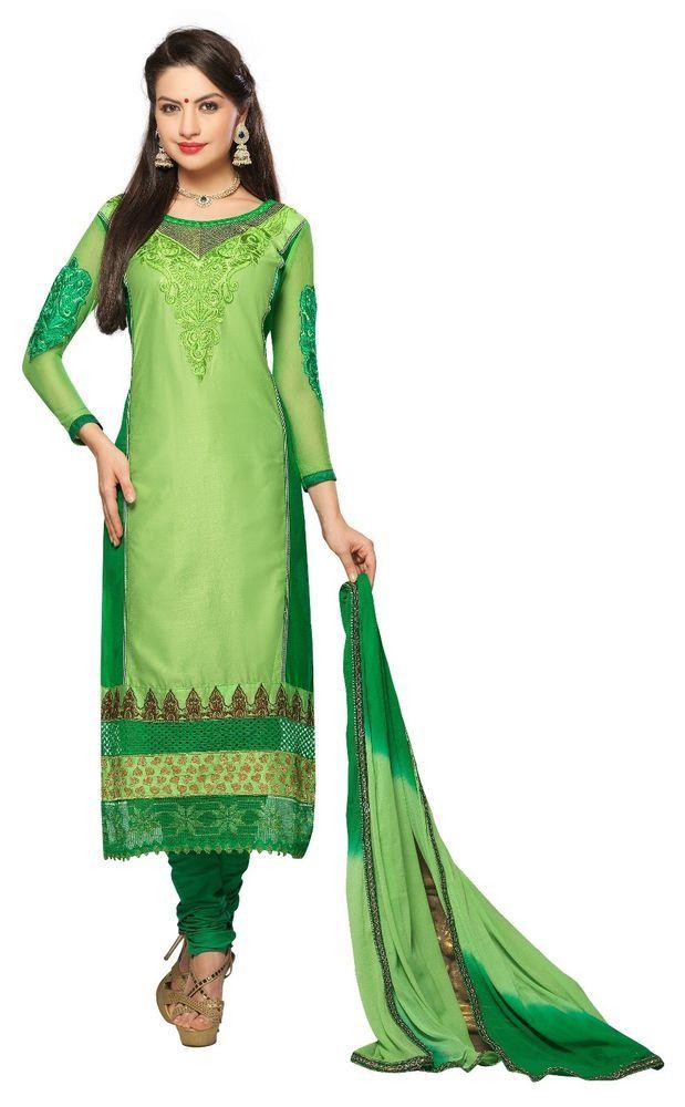 New Indian Ethnic Fancy Designer Embroidered Salwar Kameez Cotton Dress Material #Unbranded #IndianStraightsalwarSuit