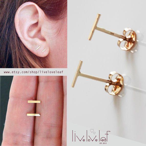 Gold staple stud earrings / dash line studs https://www.etsy.com/listing/219630559/sale-gold-staple-stud-earrings-14k-solid