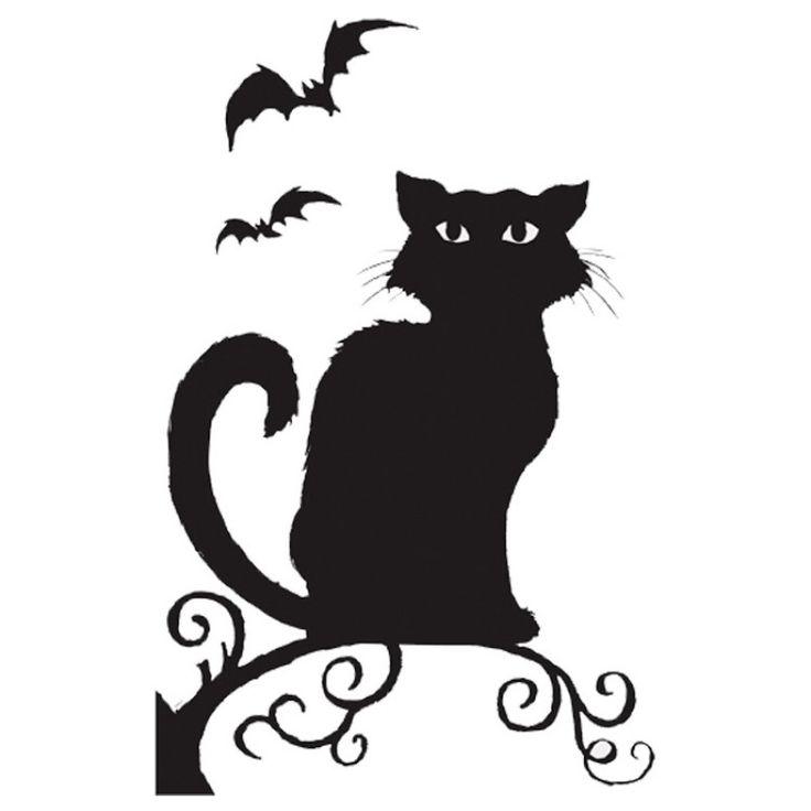 Spooky Halloween. Cat and Bats Window Silhouettes / Halloween Spaventoso . Sagoma per finestra con Gatto e Pipistrelli.
