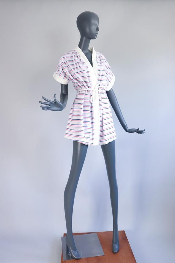 70s TERRY CLOTH Cover Up Jacket Mini Dress 1970s STRIPED Beach Coverup Robe Summer Bathing Suit Beac 1