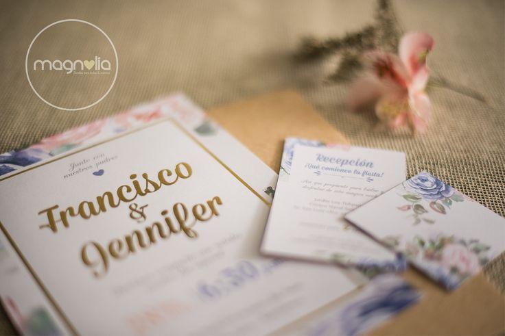 Invitaciones de Boda - Floral Vintage  Jennifer + Francisco  #bodasvintage #bodasoriginales #bodasmagnolia #invitacionesboda #flores #vintage #bodas #original #creativo