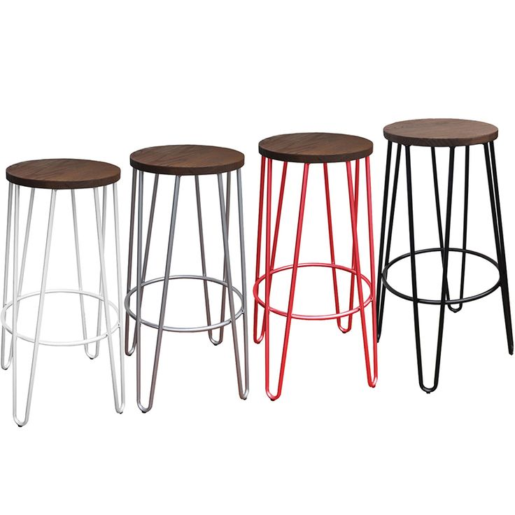 Tall 75cm Hairpin stools available in black, red, silver and white
