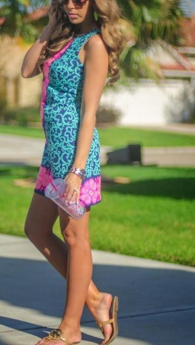 Lilly Pulitzer Delia Shift Dress worn by @Kate Mazur Blue