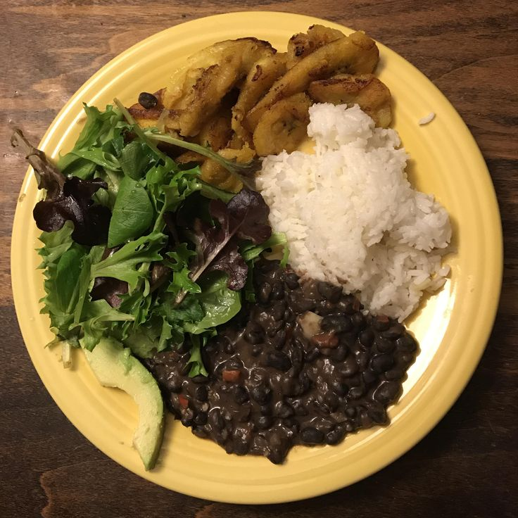 [homemade] puerto rican rice & beans fried plantains and salad