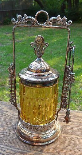 Antique Pickle Caster - Art Glass & Ornate Silverplate Frame & Tongs