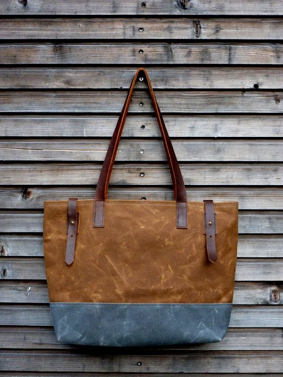 Waxed canvas tote bag / carry all with  leather by treesizeverse, $129.00