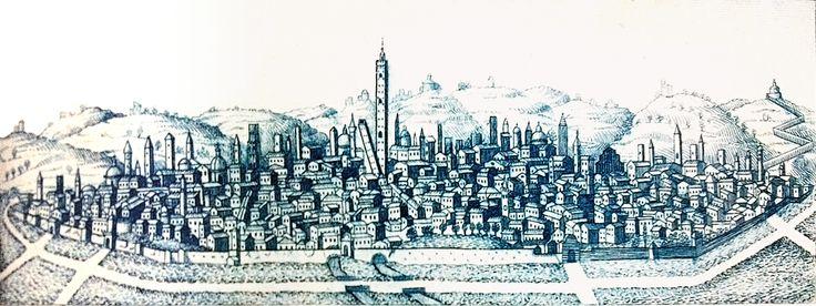 """Veduta 'blu' di Bologna. Proviene dalla raccolta in collezione BolognArt dal titolo """"Principali vedute di Bologna"""" stampata da Giovanni Zecchi, tra il 1833 e il 1840."""