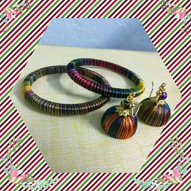 Multicolored silk thread bangles and earrings for kids...
