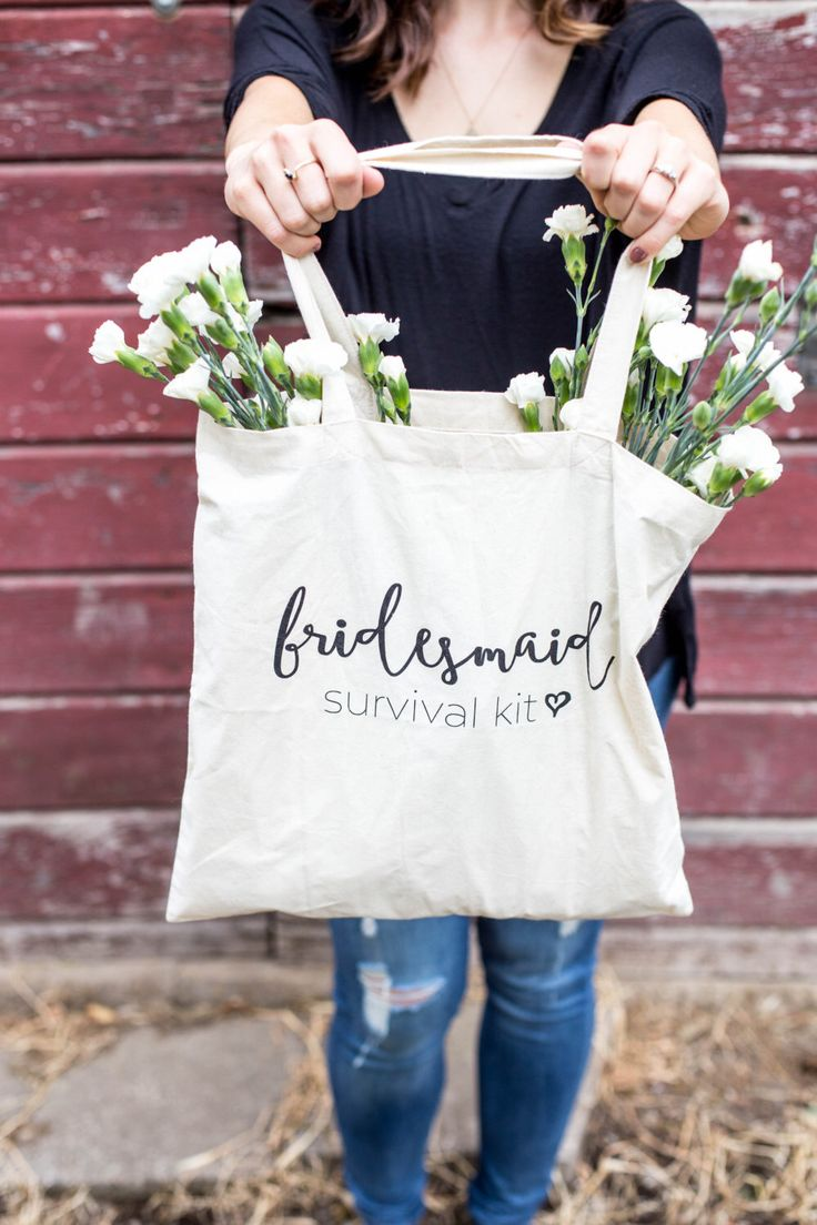 Bridesmaid Survival Kit Tote Bag // Bridesmaid Gift Bag // Choose Your Set! by designtwentyfive on Etsy https://www.etsy.com/listing/240916322/bridesmaid-survival-kit-tote-bag